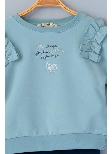 Cigit Fırfırlı Yaprak Nakışlı Bluz Takım Mavi
